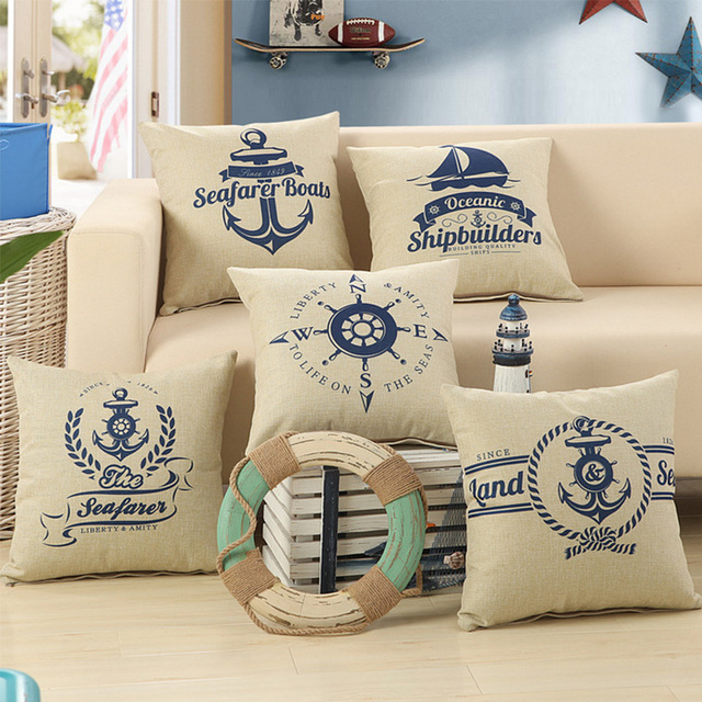 Marine Decoration Boat Anchor Patio Nautical Throw Pillow Case Cushion Covers For Sofa Furniture Furnishing Home
