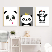 Chinese Cartoon Panda Nursery Wall Art Canvas Painting Nordic Poster Wall Pictures For Living Room Baby Kids Room Decor Unframed цена и фото