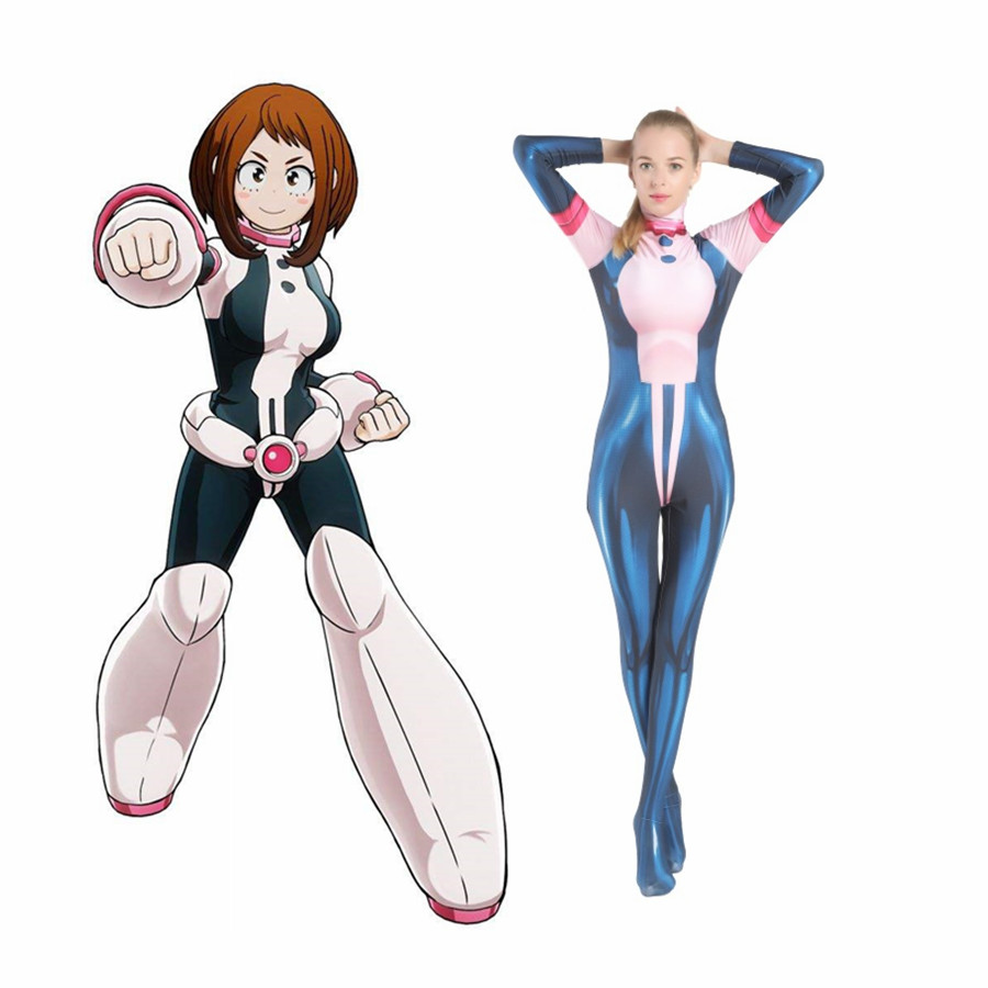 My Hero Academia Cosplay OCHACO URARAKA Jumpsuits Cosplay Costume Halloween Adult Kids Bodysuit  Zentai