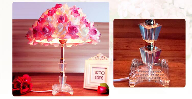 Modern Romantic Creative Fabric Pink&White Roses Crystal Led E27