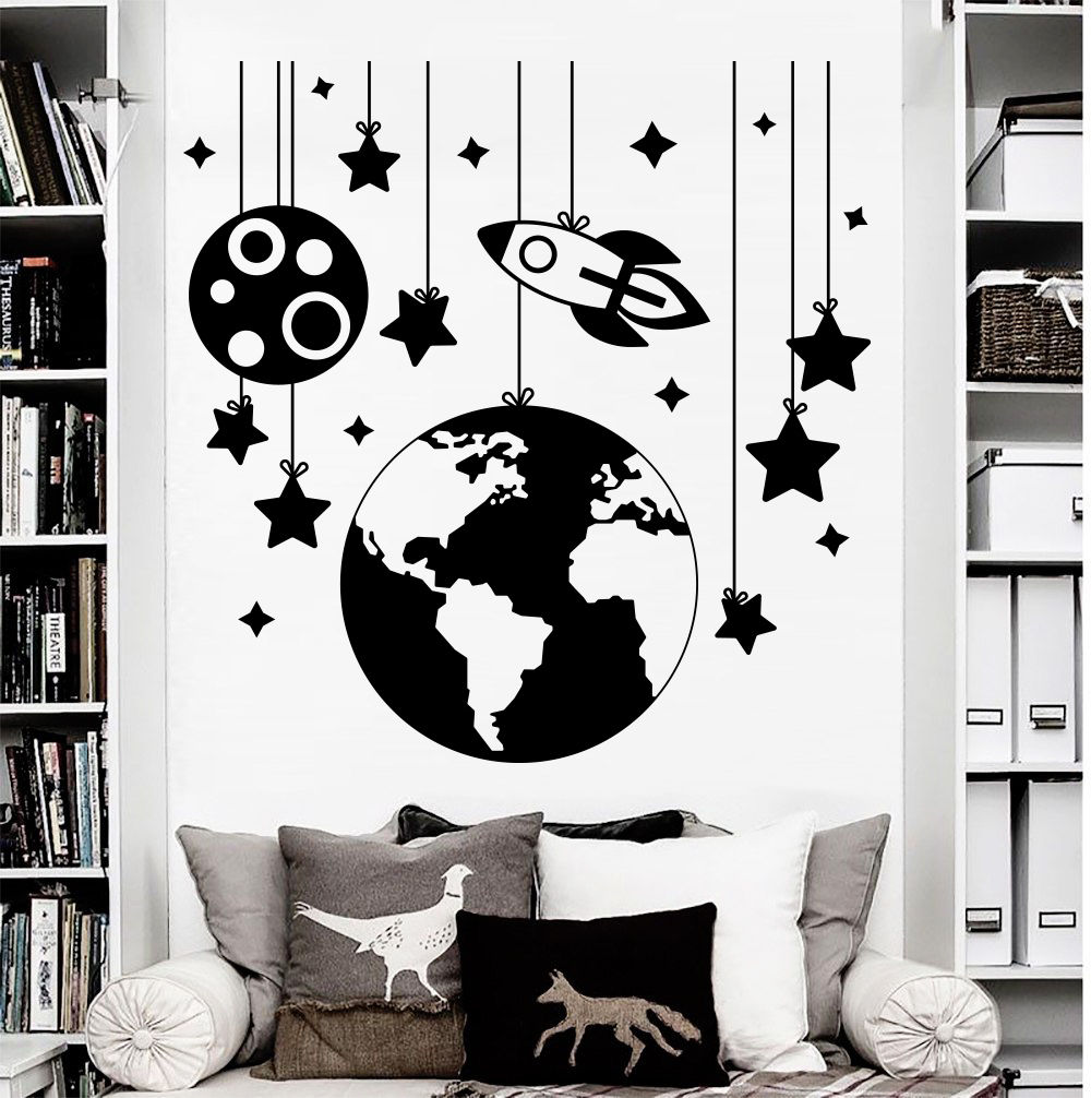 Rocket Space Stars Earth Vinyl Wall Decal Boys Children's Room Bedroom Nursery Art Deco Mural ER60-in Wall Stickers from Home & Garden