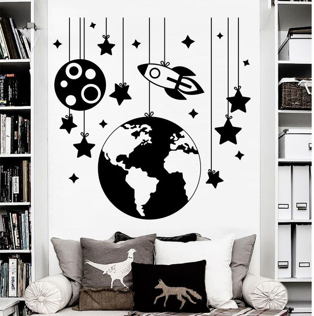 Rocket Space Stars Earth Vinyl Wall Decal Boys Childrens Room Bedroom Nursery Art Deco Mural ER60