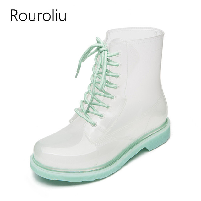 Women flats jelly wellies lace-up rubber rain ankle boots Waterproof Water Shoes