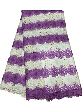 New purple with white water soluble rhinestones african cord lace guipure lace fabric material for women wedding dress 5Yards
