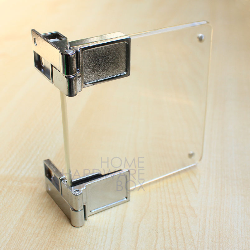 Glass Cupboard Cabinet Door Clamp Hinge Chrome Self Lock In Corner