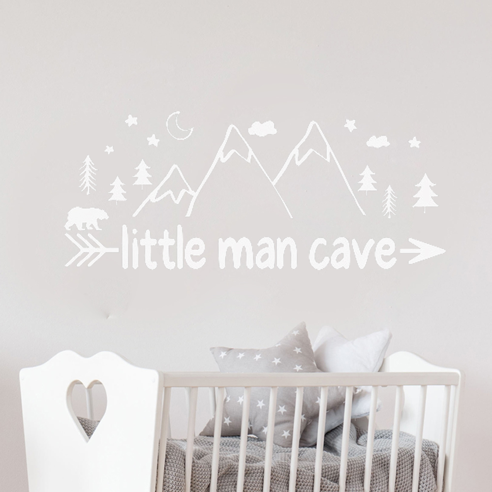 Us 5 67 30 Off Woodland Nursery Decor Vinyl Wall Sticker Decal Little Man Cave Decals Bear Nordic Home Room Decoration Playroom G83 In
