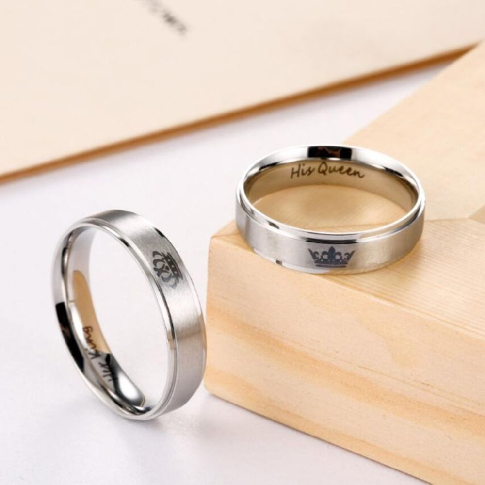 Couple Rings Jewelry-Accessories Anniversary-Band-Set Stainless-Steel Wedding KING Him