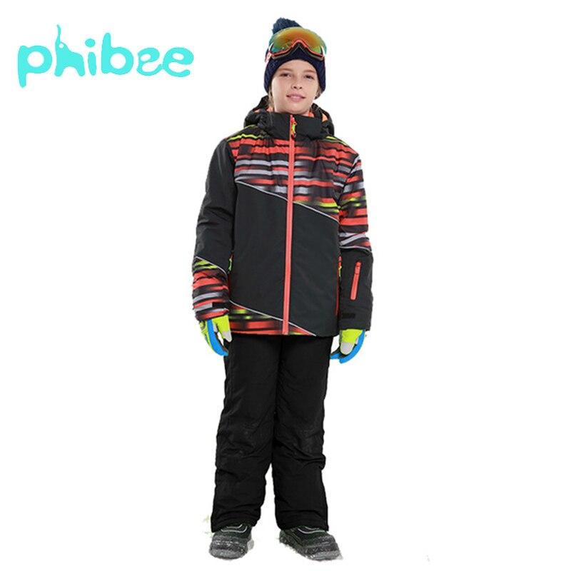 Phibee Terno De Esqui Bebê Meninos Conjuntos de Roupas de Snowboard À Prova de Vento Quente À Prova D' Água Jaqueta de Inverno Roupa Dos Miúdos Roupa Das Crianças
