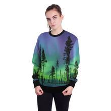 Galaxy Space 3d Women Sweatshirt Cute Forest aurora Print Pullover Sweatshirts Moleton Feminino Xmas Holiday Party Women Clothes(China)