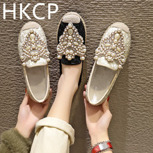 HKCP 2019 Flat-bottomed Korean version of Baita Water Diamond String Pearl mesh yarn breathable Lefu shoes and single C137