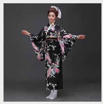 9f7fca5ae Japonés tradicional mujeres Sexy negro Pavo Real Kimono bata satén Cosplay  escenario rendimiento ...