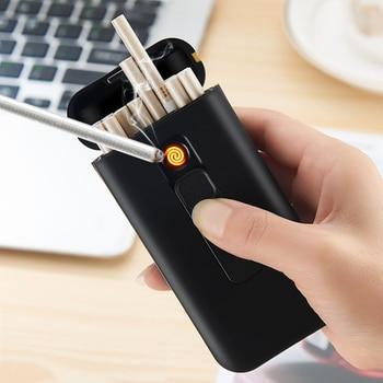 Intelligente Sigaretta Scatola Di Caso Con Accenditore Elettronico USB Plasma Turbo Di Tungsteno Più Leggero Impermeabile Holder 20pcs Slim Sigarette
