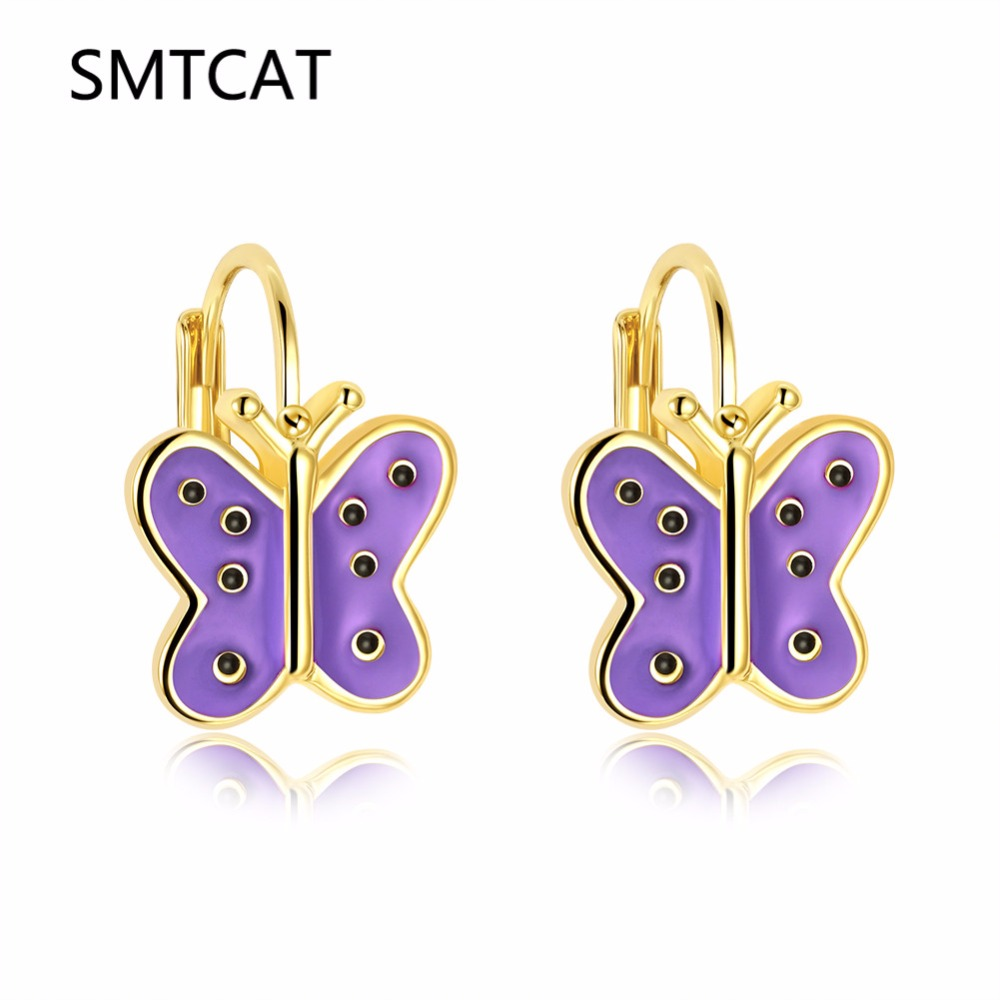 Cute Small Gold Color Purple/Pink enamel Butterfly Stud Earring For Women Children Girl Kids Jewellery Orecchini Aros Aretes