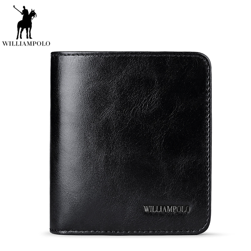 Williampolo Cow Leather Designer Genuine Leather Luxury Men Slim Thin Wallet Male Small Purse Credit Card Dollar Price PL206 2018 minimalist vintage designer genuine leather men slim thin mini wallet male small purse money clip credit card dollar price
