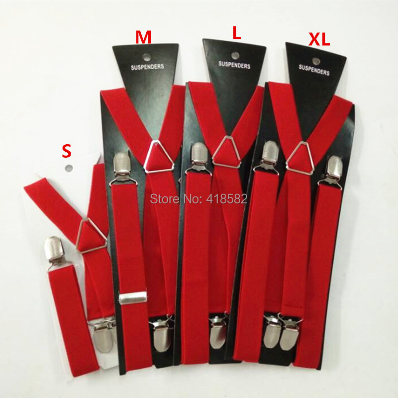 BD002-red Baby Suspender 4 Clips -on 4 Sizes For Boys And Girls Men Women X-back Suspenders Elastic Brace  Free Ship