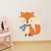 Cute Baby Fox Wall Decal Woodland Animal Wall Sticker for Kids Room Nursery Wall Art Vinyl Murals Boys Gift(China)