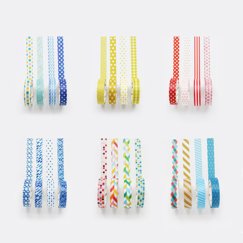 4pcs /Box Fresh Colourful Dots Striped Paper Masking Tape Album Scrapbooking Decor Washi Tape Stick Label
