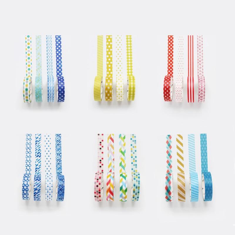 4pcs /Box Fresh Colourful Dots Striped Paper Masking Tape Album Scrapbooking Decor Washi Tape Stick Label