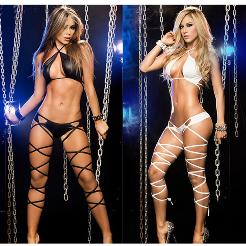 2017 Hot Two-piece Set Nightclub Bandage Women Seductive Wear Pole Dance Clothing Costume Patent Leather Sexy Lingerie