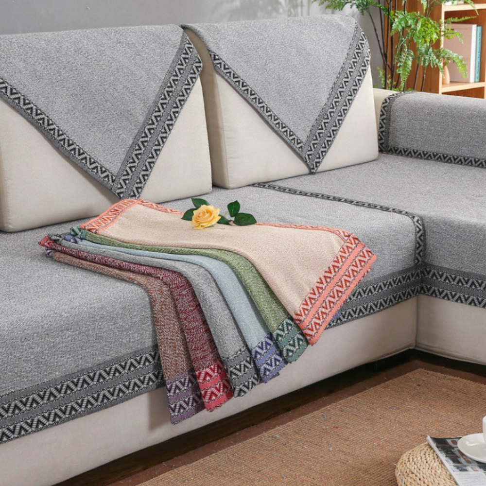 Cotton sofa cover couch cover with 6 solid colors multi - What size couch for my living room ...
