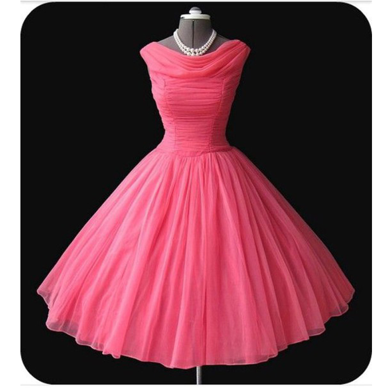 Vintage 1950 s mangas plisados tul prom dress short custom made ...