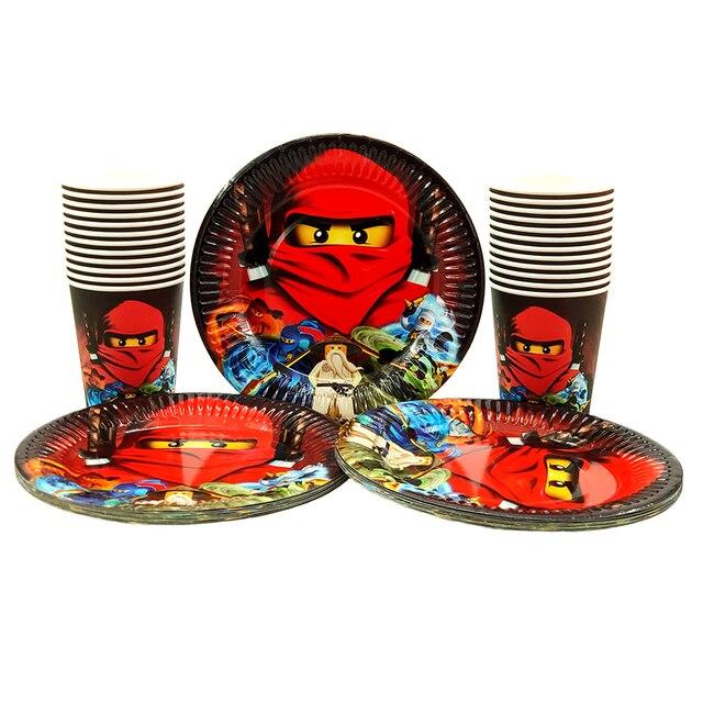 لوازم الحفلة 48 قطعة مجموعة أدوات المائدة لحفلة أعياد الميلاد للأطفال ninjaguing ، 24 قطعة أطباق الحلوى وأكواب 24 قطعة