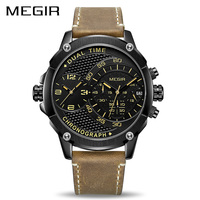 MEGIR Chronograph Sport Quartz Watch Men Dual Time Zone Men Wrist Watches Creative Leather Army Military Wristwatches Clock Hour