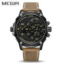 MEGIR montre bracelet chronographe en cuir pour hommes, à double fuseau horaire, militaire, créative