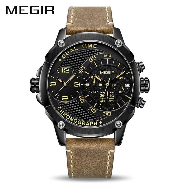 Megir Chronograaf Sport Quartz Horloge Mannen Dual Time Zone Mannen Horloges Creatieve Lederen Militaire Horloges Klok Uur