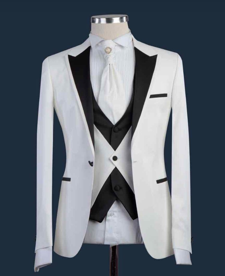 New Deasign Groom Tuxedos Formal White Men/'s Wedding Suits Slim 3 Piece Suits