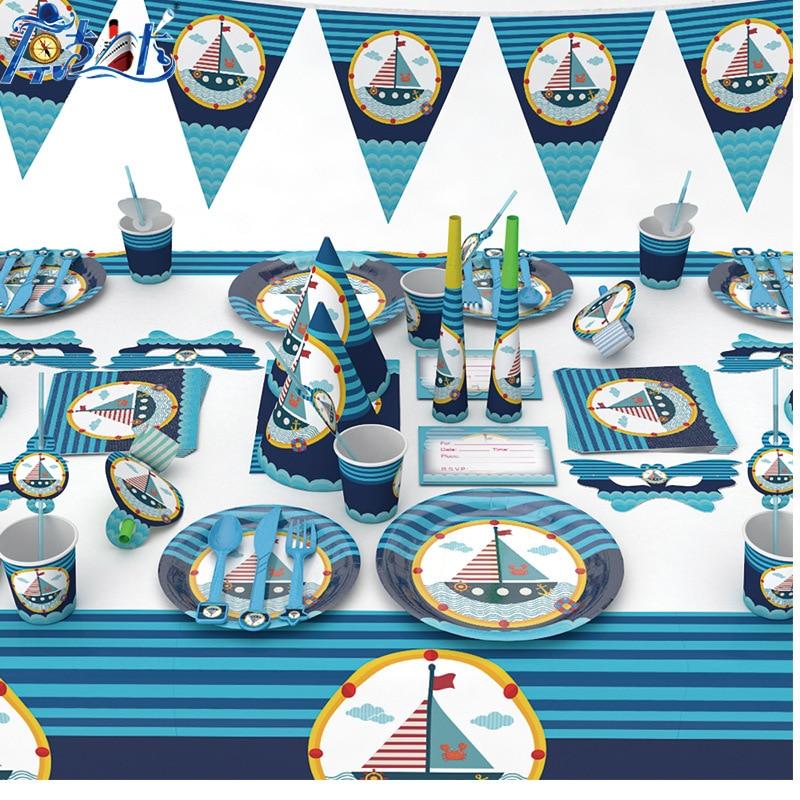 176 pcs/lot thème nautique vaisselle jetable ensembles pour enfants fête d'anniversaire décorations papier tasses assiettes serviettes fournitures de fête