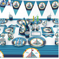 176pcs/lot Nautical Theme Disposable Tableware Sets For Kids Birthday Party Decorations Paper Cups Plates Napkins Party Supplies