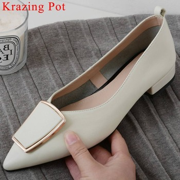 Krazing Pot full grain leather slip on pointed toe loafers metal buckle elegant lady comfortable dress superstar daily shoes L20