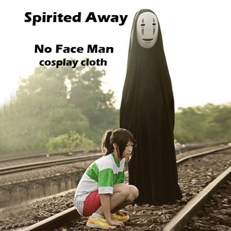 Spirited Away No Face Man Anime cosplay Halloween costume for kids and adults Mask + Gloves + Cloak Suit