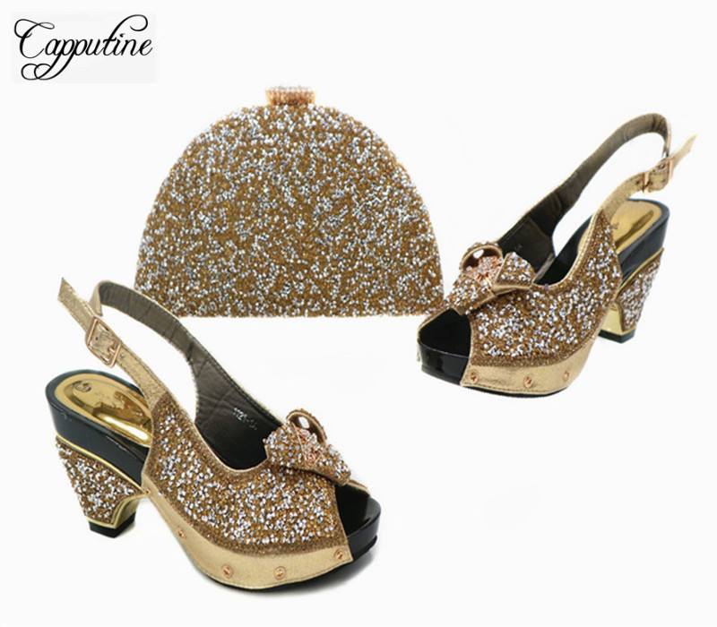 Capputine New Arrival Middle Heels Shoes And Bag Set High Quality Rhinestone Italian Ladies Shoes And Bag Set For Party G43 capputine new arrival fashion shoes and bag set high quality italian style woman high heels shoes and bags set for wedding party