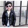Roupas de criança 2016 primavera infantil e no outono roupa masculina criança do sexo feminino roupas de couro outerwear jaqueta de couro criança