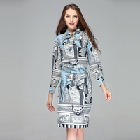 Two piece Set High Quality 2019 Designer Fashoin Runway Summer Dress Women's Crystal Button Printed Elegant Casual Midi Dresses