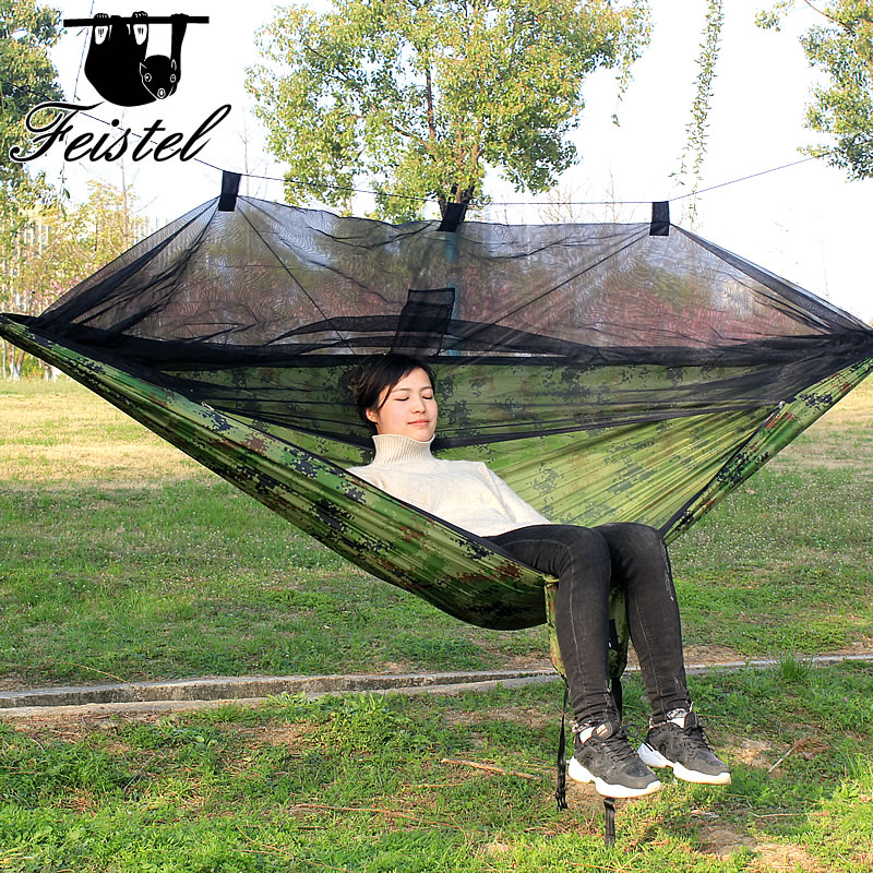 High-strength 210T nylon hammock with high-density mosquito net to prevent mosquitoes and leaves