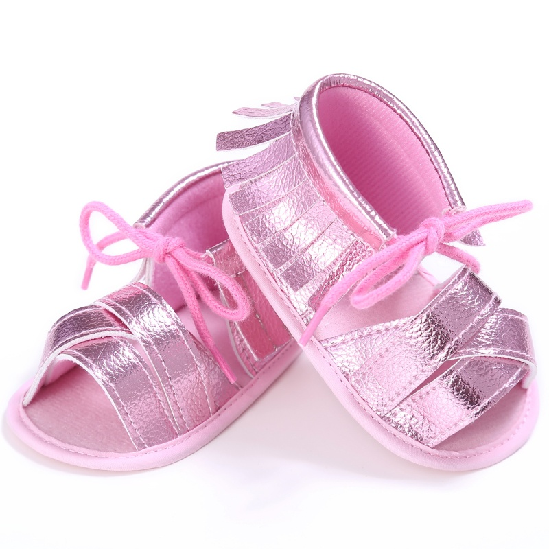 PU Fashion Breathable Hollow Out Anti-slip Newborn Cack Shoes For 0-18M Kids Summer Baby Girls Pink First Walkers