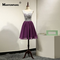 Full Lace Cover New Design Vestido Coctel Mujer Elegant Mini Skirt Beach Coctel Dress Embroidery Lace Purple Coctail Dress