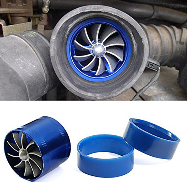 Stylish Blue Fan Turbo Air Intake Gas Fuel Saver Turbo Supercharger Car Air Intake Turbine Accessories 65MM 74MM
