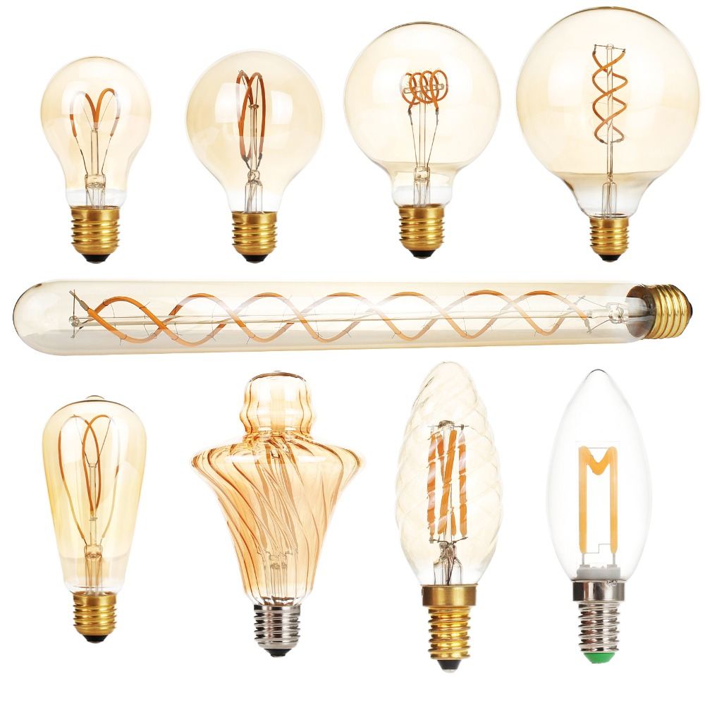 dimmable e27 ac 220v led edison light bulb retro carbon lamp a60 t30 g80 st64 g95 g125 vintage. Black Bedroom Furniture Sets. Home Design Ideas