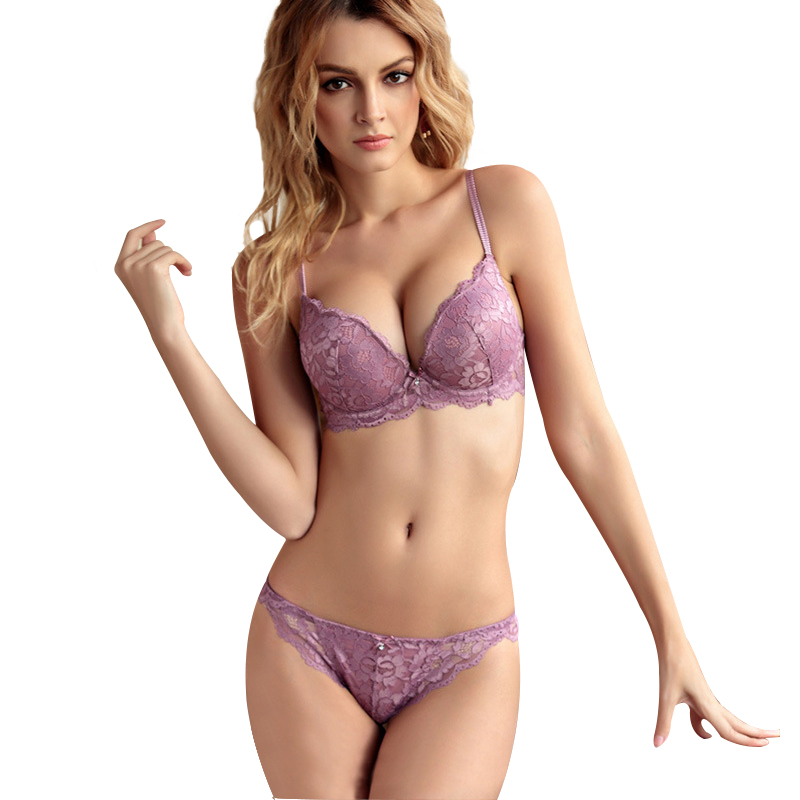 top brand   bra     briefs     set   floral new arrival purple blue   bra   and panties push up women's underwear sexy lace   bra     set   big sizes