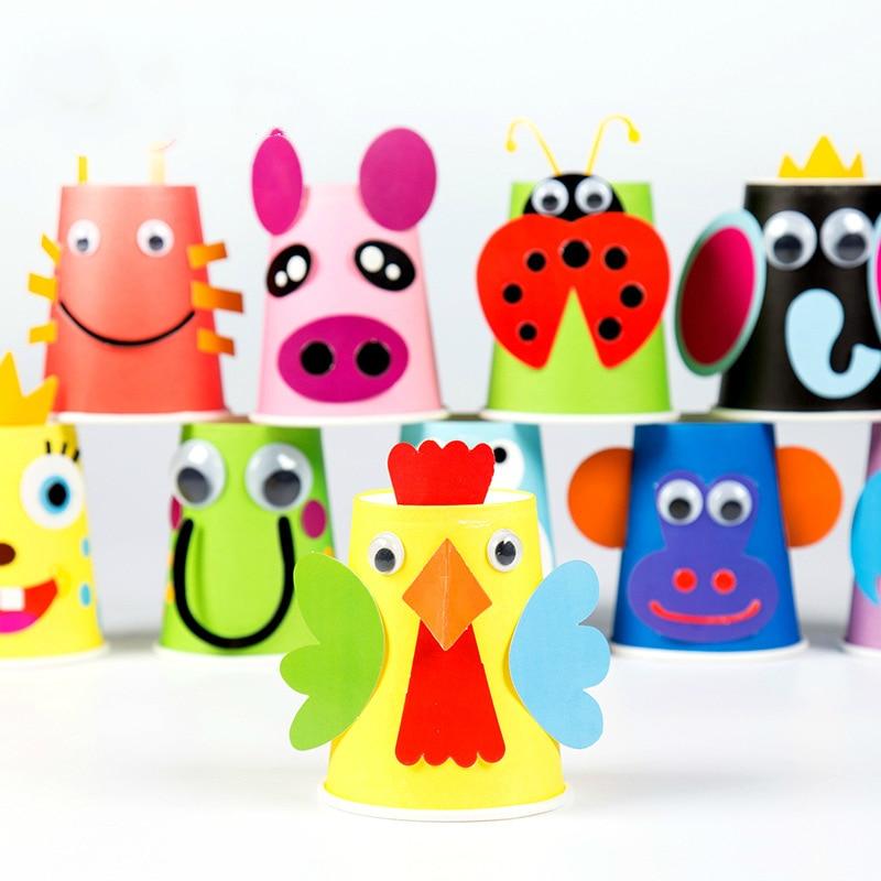 Handmade Paper Cups Toys For Children 3D DIY Sticker Material Kit Kids Kindergarten School Art Craft Educational