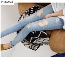 Maternity Jeans For Pregnant Women Spring Nursing Trousers Hole Denim Nine Points  Belly Legging Clothing E0039
