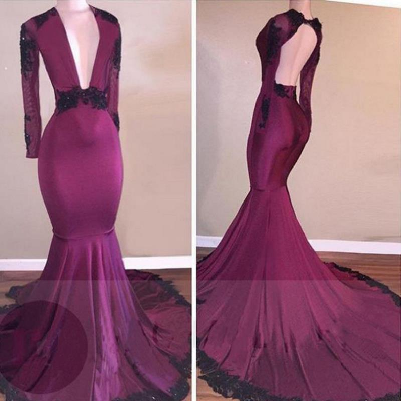 Burgundy Mermaid   Evening     Dresses   Long 2019 Sukienka Dluga Deep V Neck African Black Girls Women Fajas Colombianas Prom Gowns
