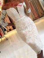 New Fashion 2019 Strapless Three Quarter Sleeves Lace Applique Knee Length Cocktail Dress Custom made Short Party Cocktail Gown