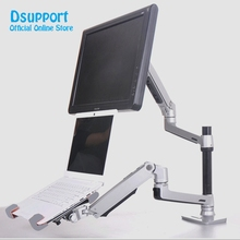 Desktop Full Motion 17-32inch Monitor Holder Mount +10-17inch Laptop Support Mechanical Spring Dual Arm Max.Loading 10kgs Each