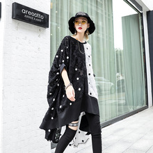 Women Summer Oversized Loose Casual Sexy Lace Dress High Street Fashion Punk Gothic Bat Short Sleeve Spliced Perspective Dress dolman sleeve lace spliced popover dress