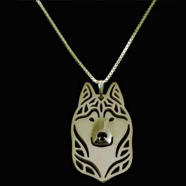 Siberian Husky Necklace Gold Dog Pendant Necklaces Animal Charm